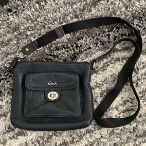 Black leather coach cross body